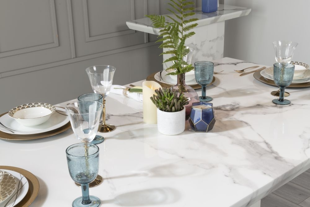 Urban Deco Naples 180cm White Marble Dining Table