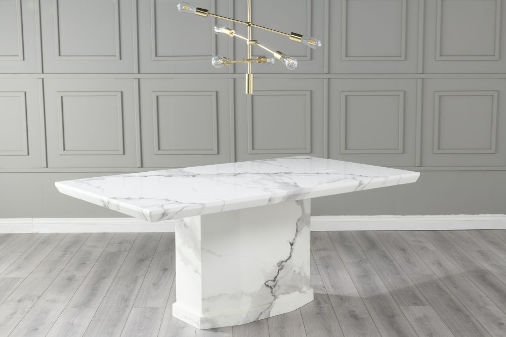 Urban Deco Naples 180cm White Marble Dining Table