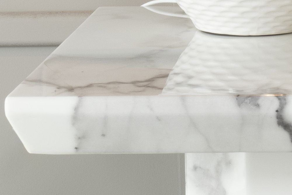 Urban Deco Naples White Marble Lamp Table
