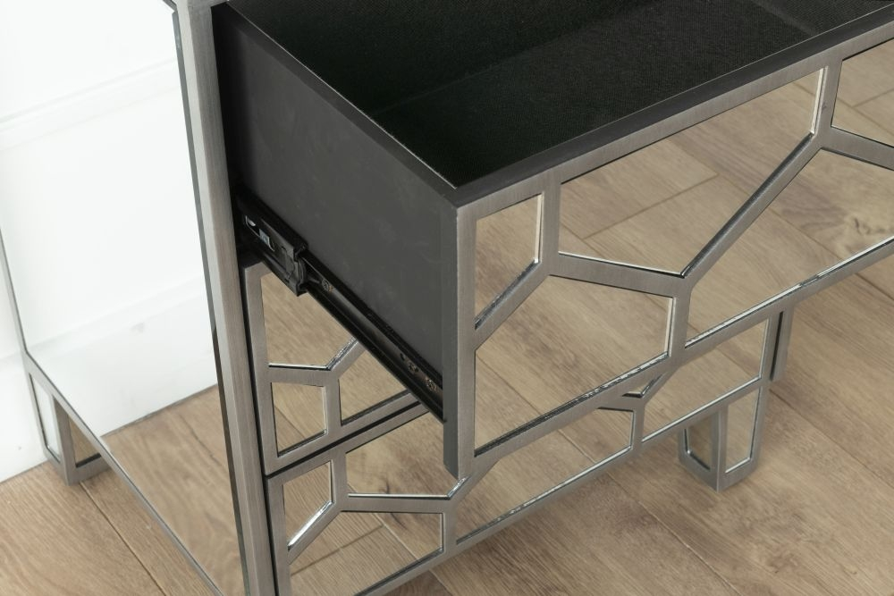 Urban Deco Honeycomb Mirrored Bedside Cabinet