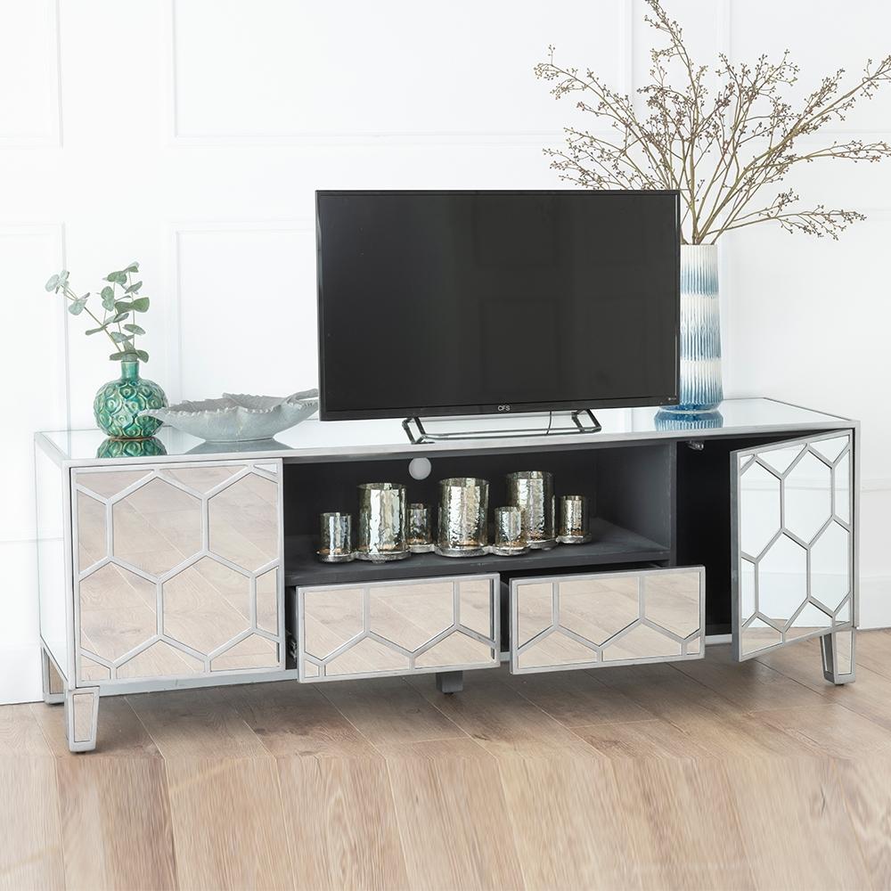 Urban Deco Honeycomb Mirrored TV Unit