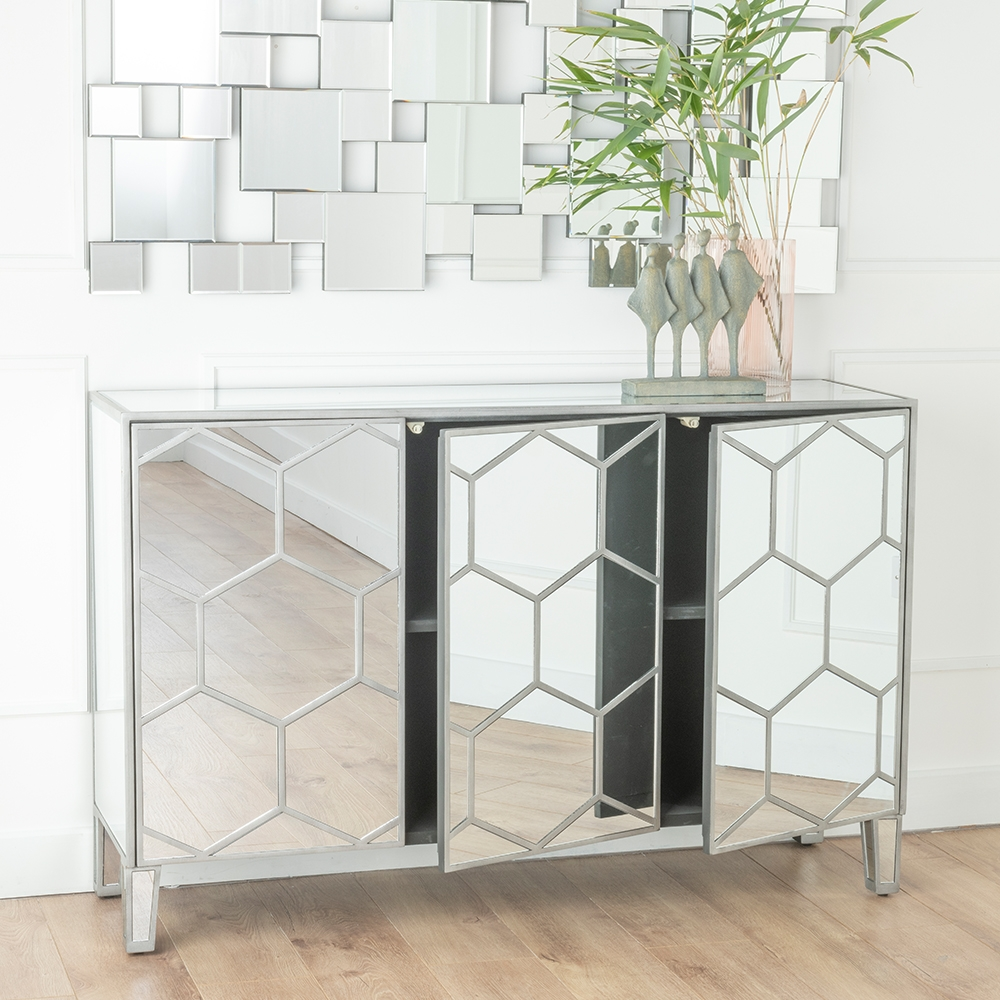 Urban Deco Honeycomb Mirrored Large Sideboard