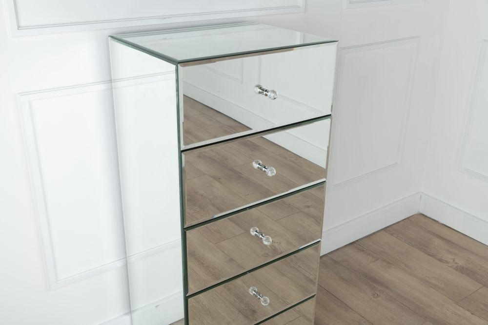 Urban Deco Chelsea Mirrored 5 Drawer Tall Boy Chest