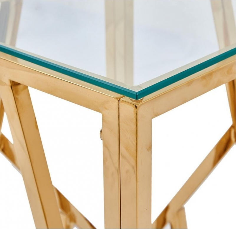 Haslemere Glass and Gold Square Telephone Table