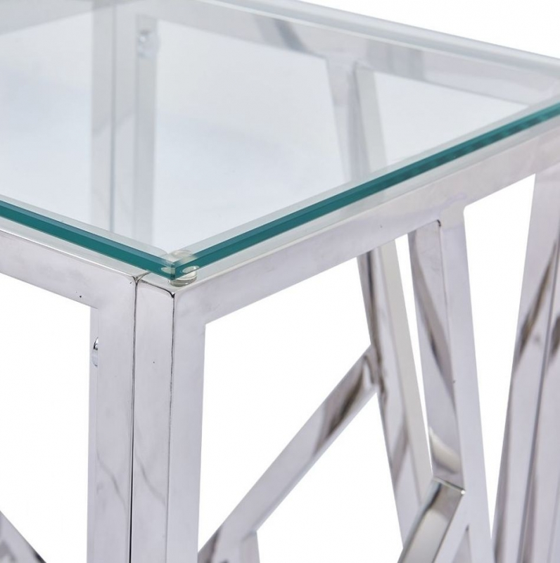 Haslemere Glass and Chrome Square Telephone Table