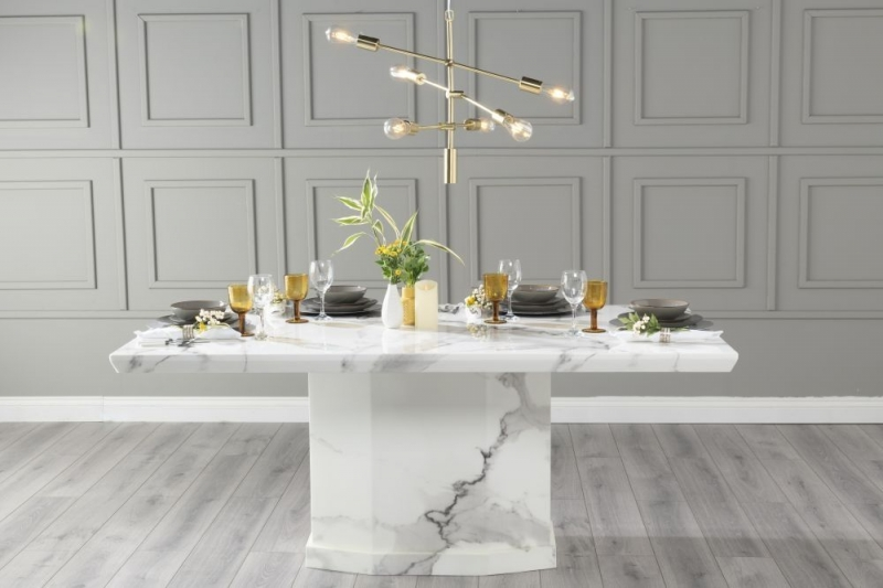 Urban Deco Naples 160cm White Marble Dining Table with 6 Grey Knockerback Chairs