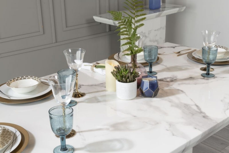 Urban Deco Naples 160cm White Marble Dining Table with 6 Courtney Blue Chairs