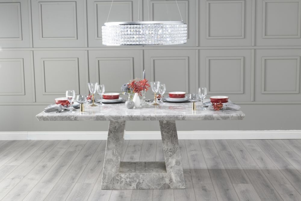 Urban Deco Milan 180cm Grey Marble Dining Table with 6 Phoenix Dark Grey Brushed Metal Base Chairs