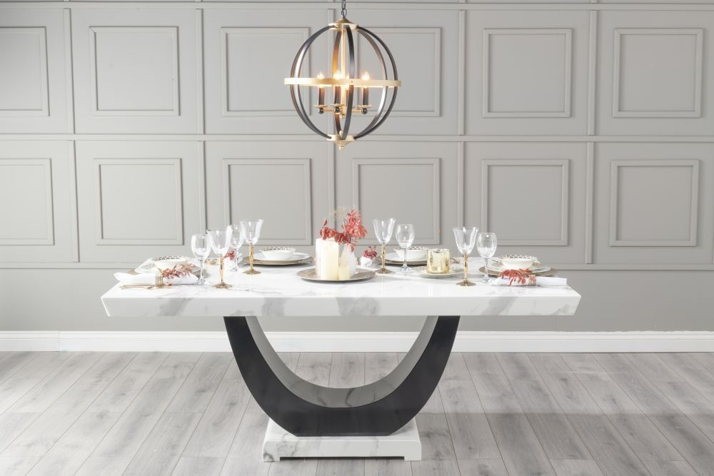 Urban Deco Madrid 160cm White Marble Dining Table with 6 Athena Black Chairs