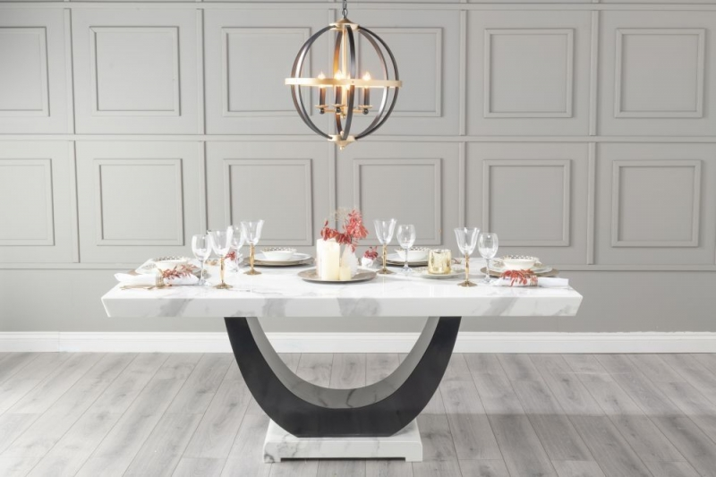 Urban Deco Madrid 200cm White Marble Dining Table with 6 Cadiz Black Chairs