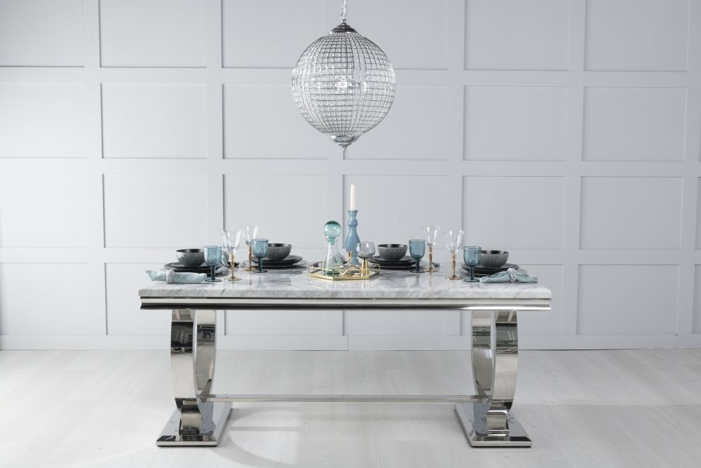 Urban Deco Glacier 180cm Grey Marble and Chrome Dining Table with 6 Black Knockerback Chrome Leg Chairs