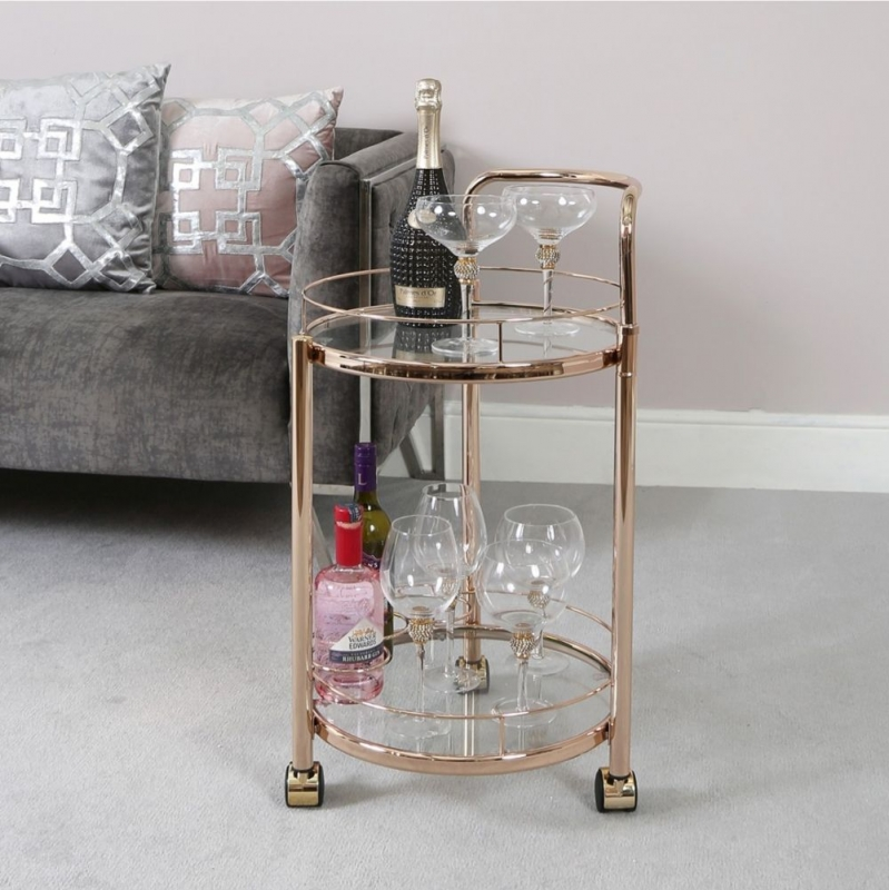 Haxby Glass and Rose Gold Drinks Trolley