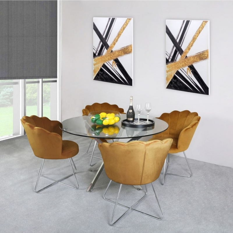 Nanty Glass and Chrome 130cm Dining Table and 4 Mustard Chairs