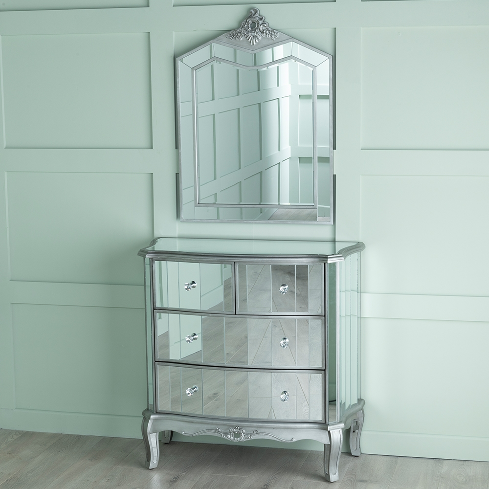 Urban Deco Tiffany French Mirrored 2+2 Drawer Chest
