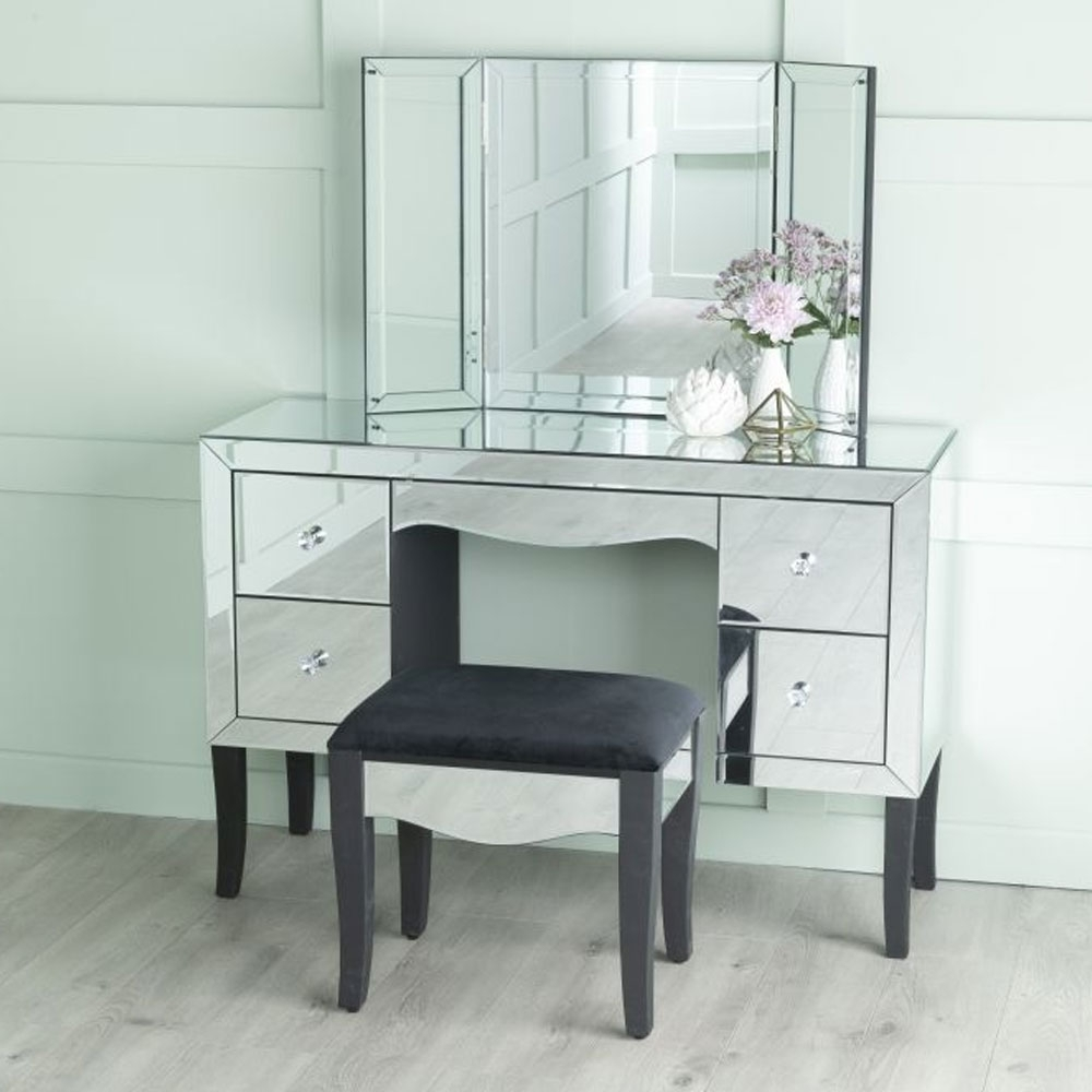 Urban Deco Venetian Mirrored Dressing Stool