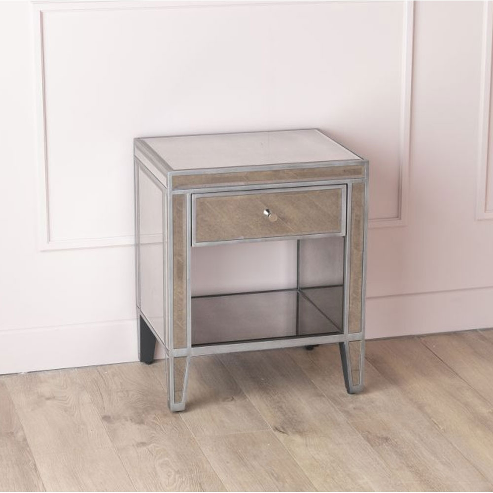 Urban Deco Alhambra Aged Mirrored 1 Drawer Bedside Cabinet