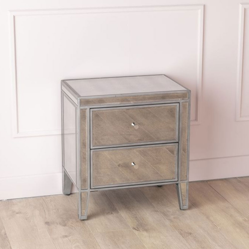 Urban Deco Alhambra Aged Mirrored 2 Drawer Bedside Cabinet