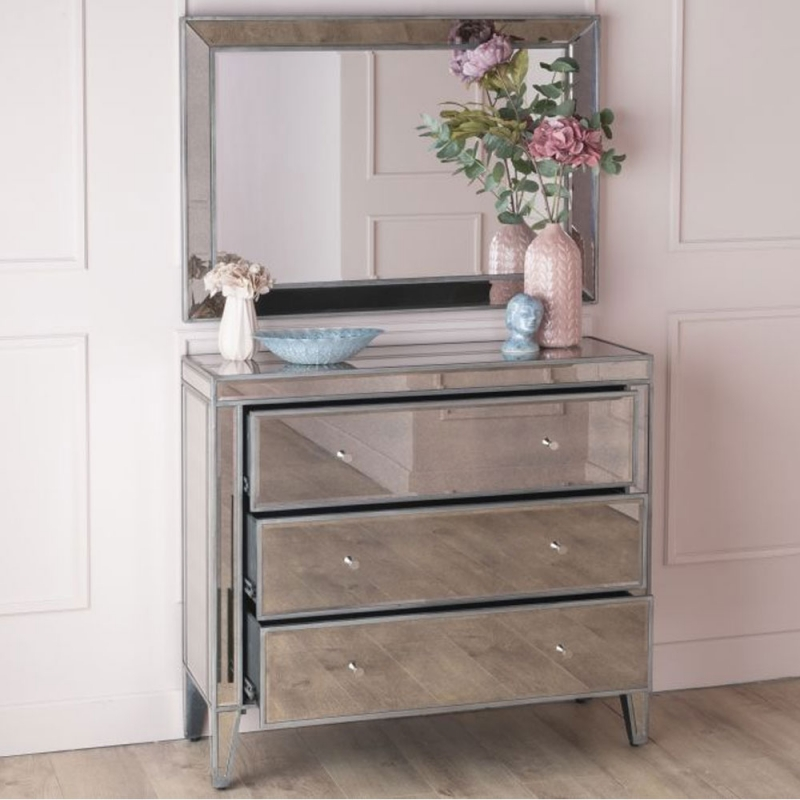 Urban Deco Alhambra Aged Mirrored 3 Drawer Chest