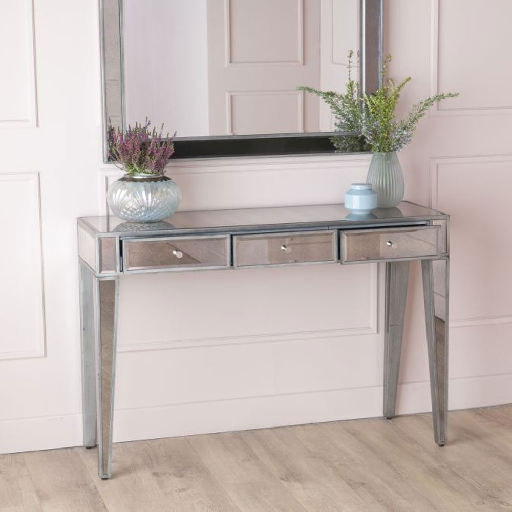 Urban Deco Alhambra Aged Mirrored Dressing Cum Console Table