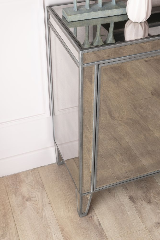 Urban Deco Alhambra Antiqued Mirrored Large Sideboard