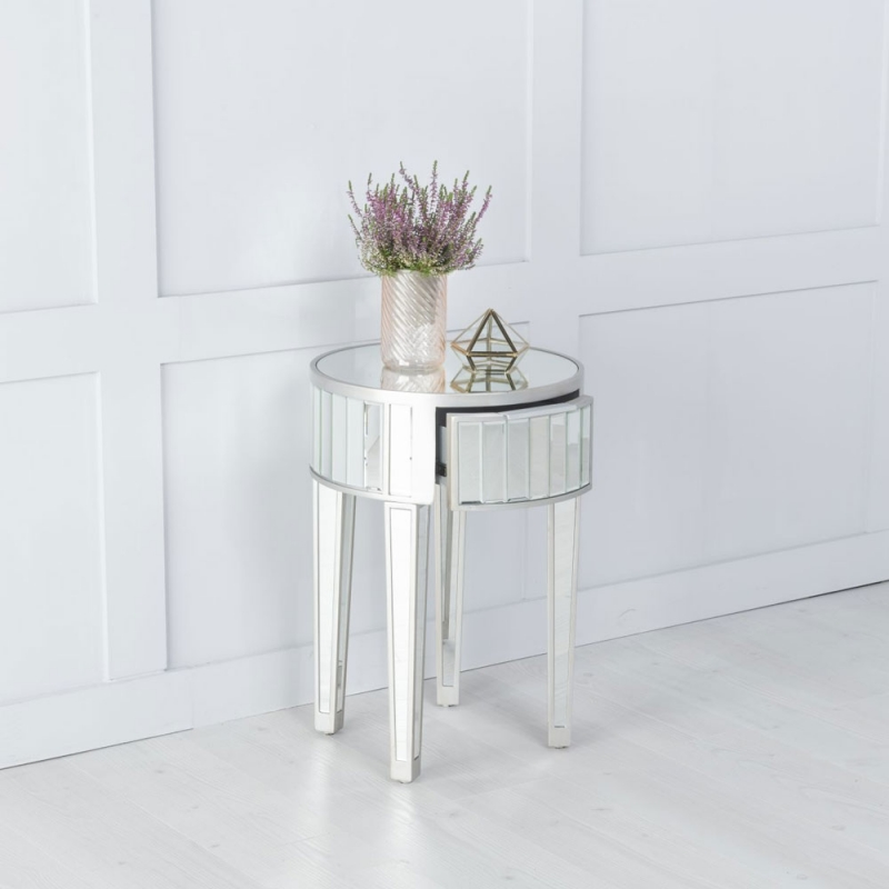 Urban Deco Elysee Pewter Mirrored Round Side Table