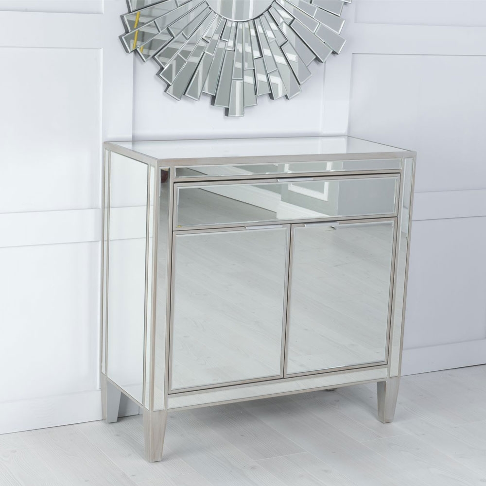 Urban Deco Elysee Pewter Mirrored Small Sideboard