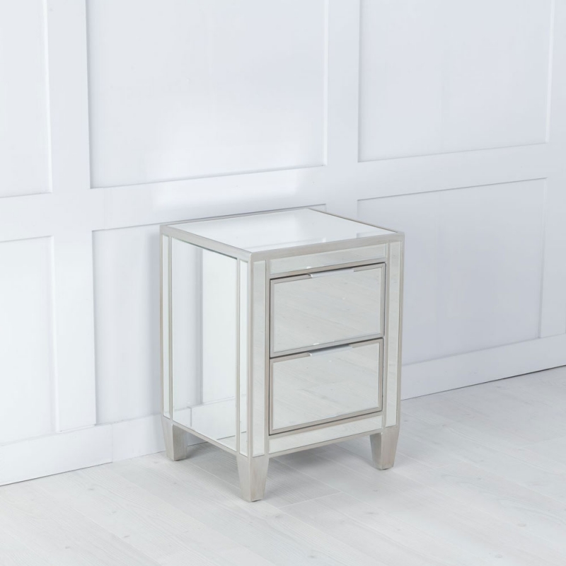 Urban Deco Elysee Pewter Mirrored 2 Drawer Bedside Cabinet