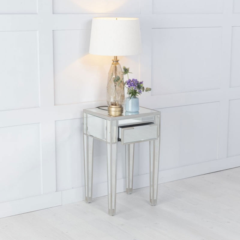 Urban Deco Elysee Pewter Mirrored 1 Drawer Bedside Table
