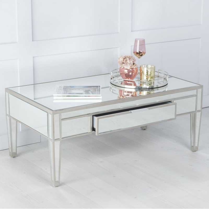 Urban Deco Elysee Pewter Mirrored Coffee Table