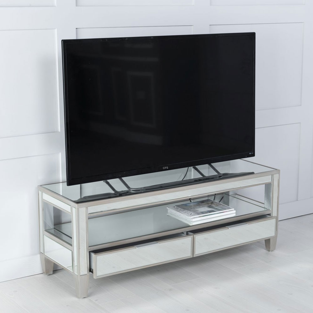 Urban Deco Elysee Pewter Mirrored TV Unit