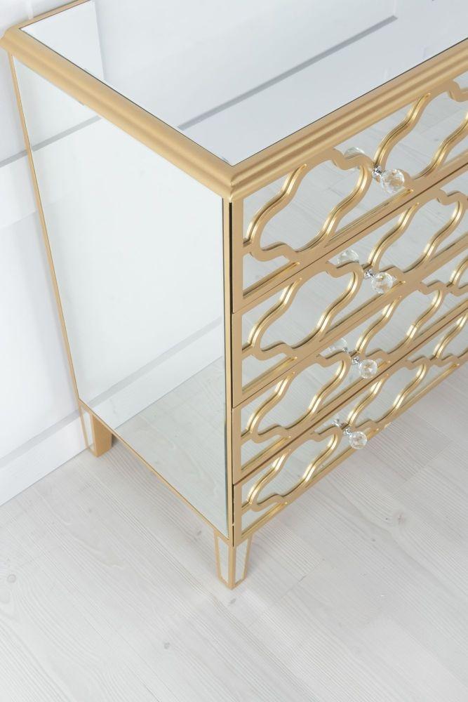 Urban Deco Casablanca Gold Trim Mirrored 3+2 Drawer Chest