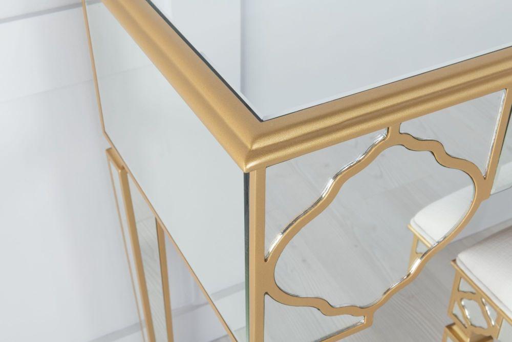 Urban Deco Casablanca Gold Trim Mirrored Dressing Table