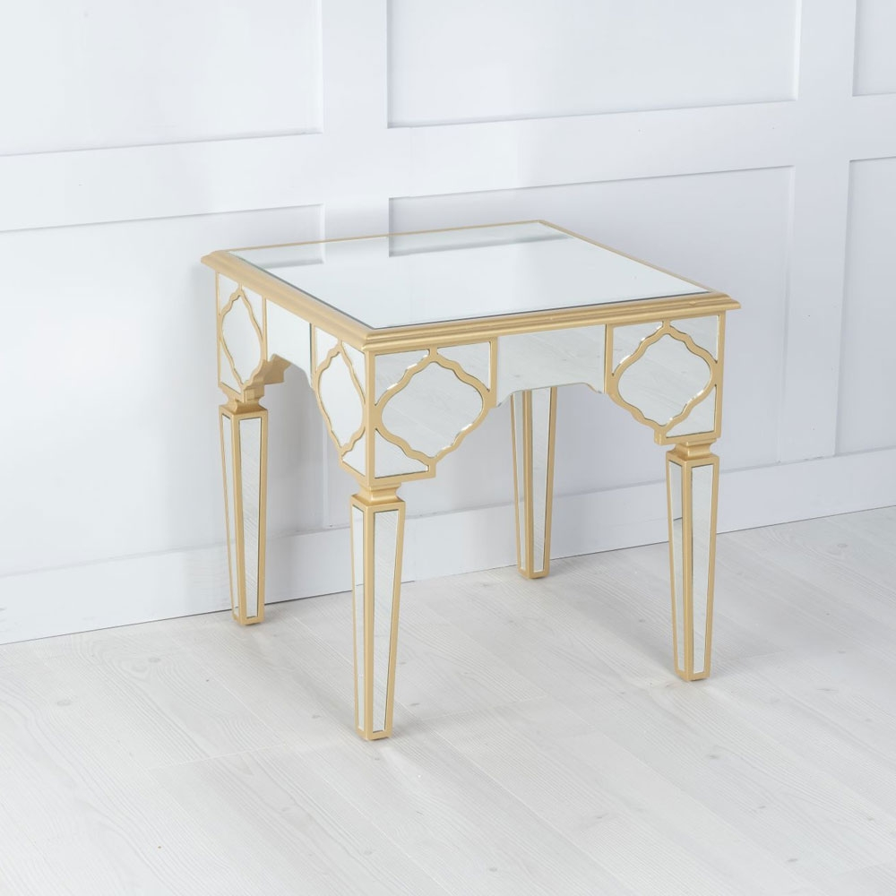 Urban Deco Casablanca Gold Trim Mirrored Side Table