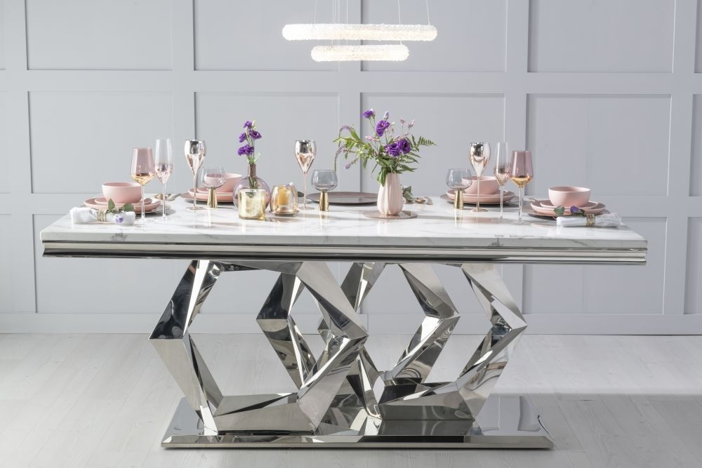 Urban Deco Octa 200cm White Marble and Chrome Dining Table with 6 Lyon Blue Chairs