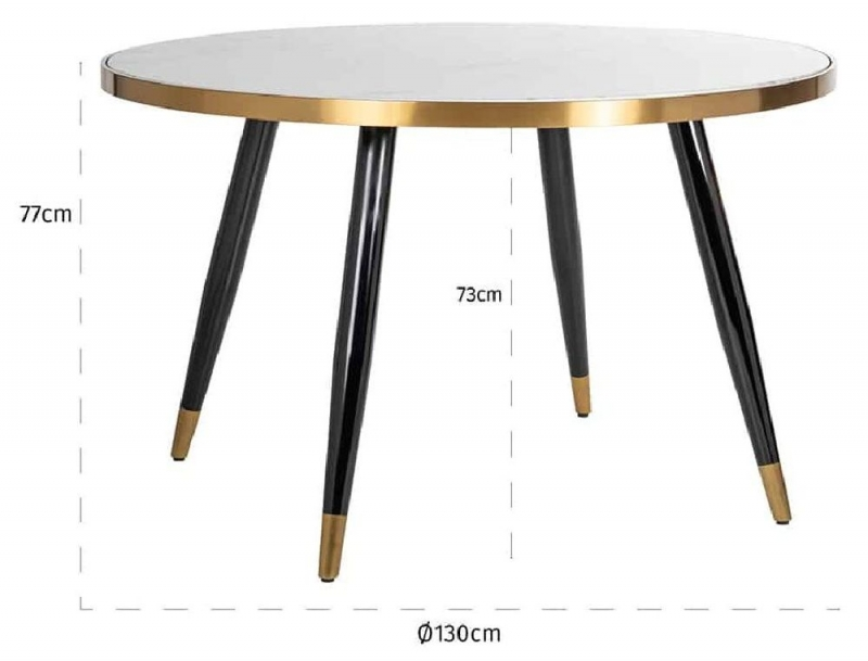 Delia White Marble and Gold Round Dining Table