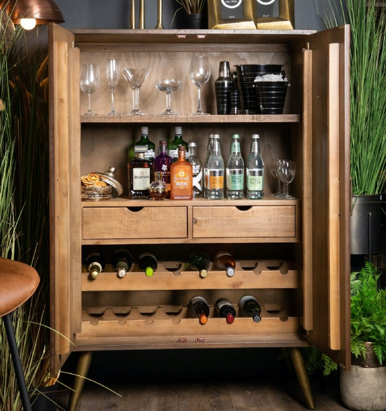 Hill Interiors Havana Brown and Gold Drinks Cabinet