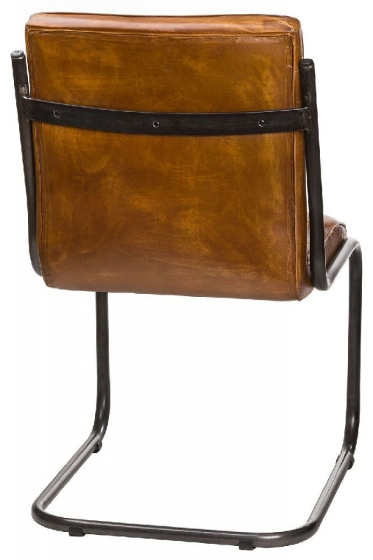 Hill Interiors Billy Brown Leather Ribbed Dining Chair (Pair)