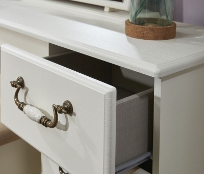 Clearance - Coniston Cream Ash 3 Drawer Bedside Cabinet - New - A-131