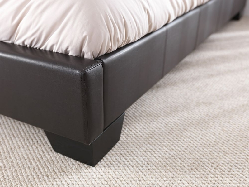 Clearance - Serene Parma Brown Faux Leather 6ft Queen Size Bed - New - FS597