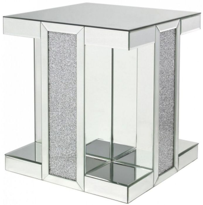 Clearance - Naro Mirrored Square End Table - New - FS438