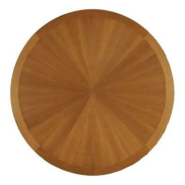 Nathan Classic Teak Round Extending Single Pedestal Dining Table with Sunburst Top