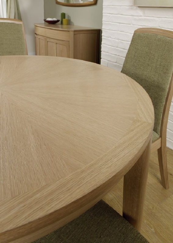 Nathan Shades Oak Round Extending Dining Table with Sunburst Top