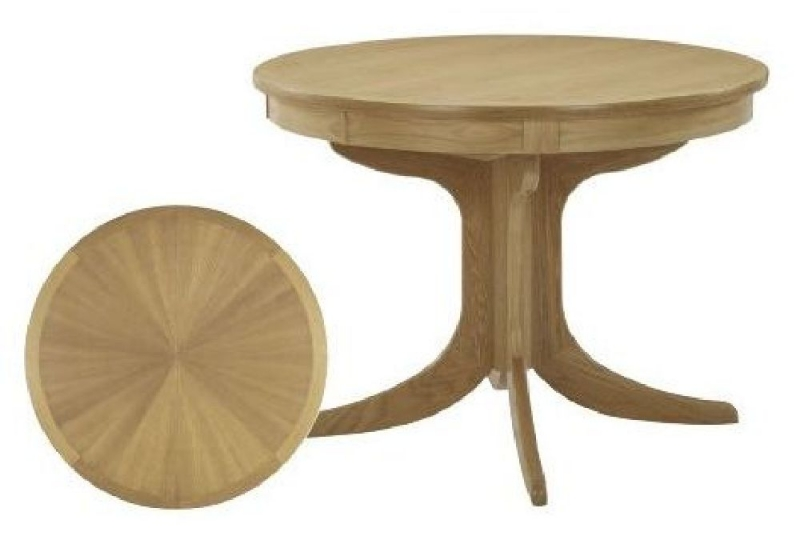 Nathan Shades Oak Round Extending Single Pedestal Dining Table with Sunburst Top