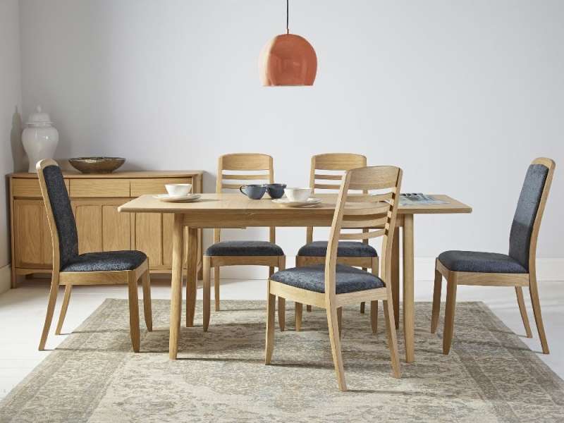 Nathan Shades Oak Boat Shaped Extending Dining Table