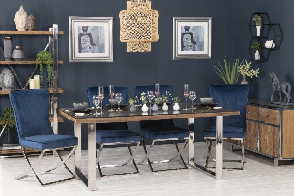 Railway Sleeper Wood Glass Top 180cm Dining Table