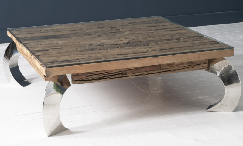 Railway Sleeper Wood Glass Top Curved Leg Opium Coffee Table