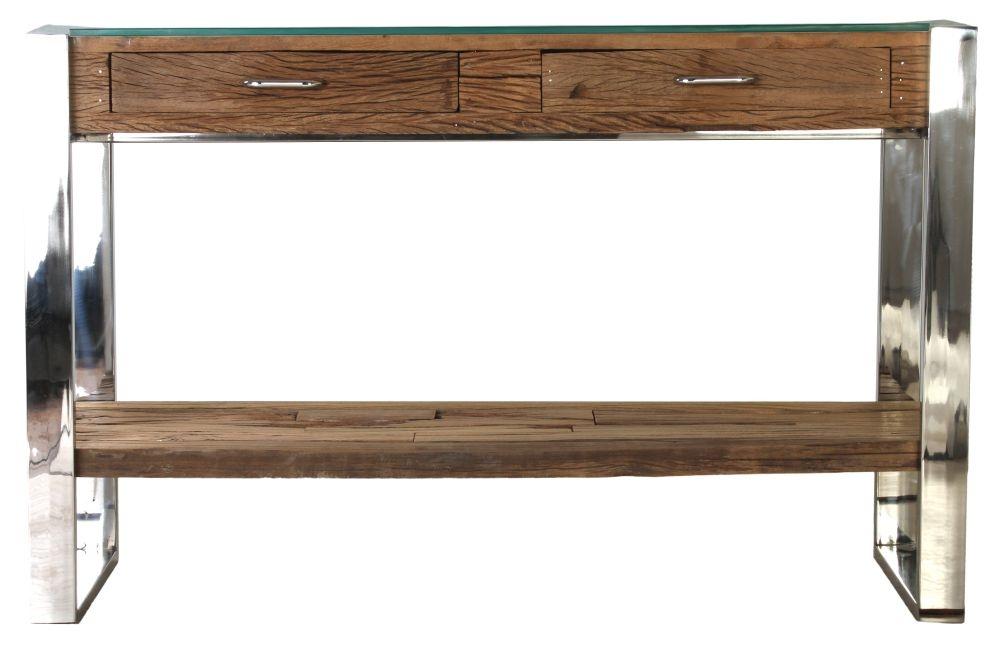 Railway Sleeper Wood Glass Top Console Table