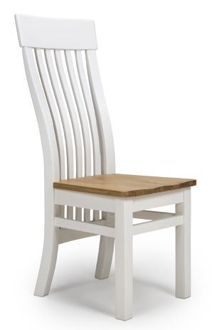 Portland White Painted Slatted Back Dining Chair (Pair)