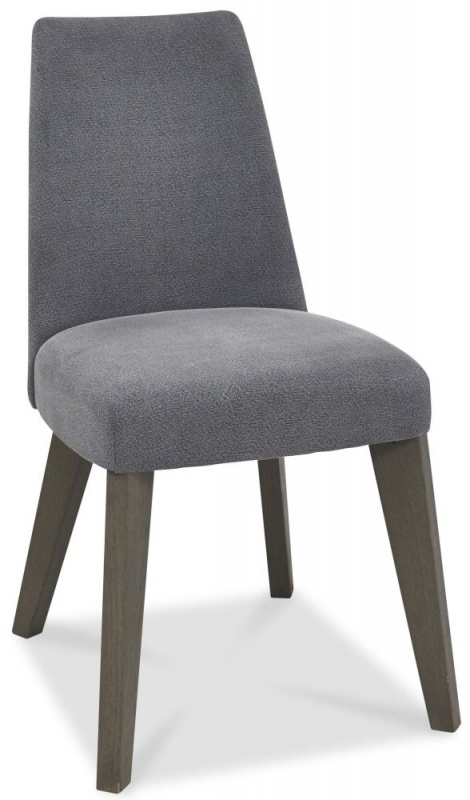 Bentley Designs Cadell Aged and Weathered Oak Dining Chair - Slate Blue Upholstered (Pair)