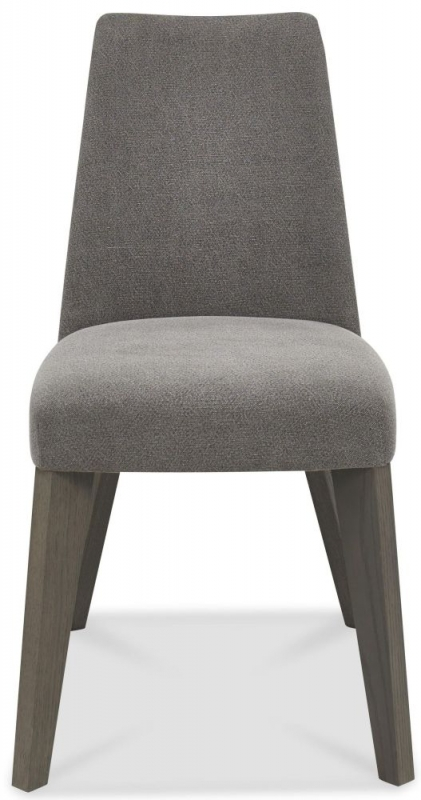 Bentley Designs Cadell Aged and Weathered Oak Dining Chair - Smoke Grey Upholstered (Pair)